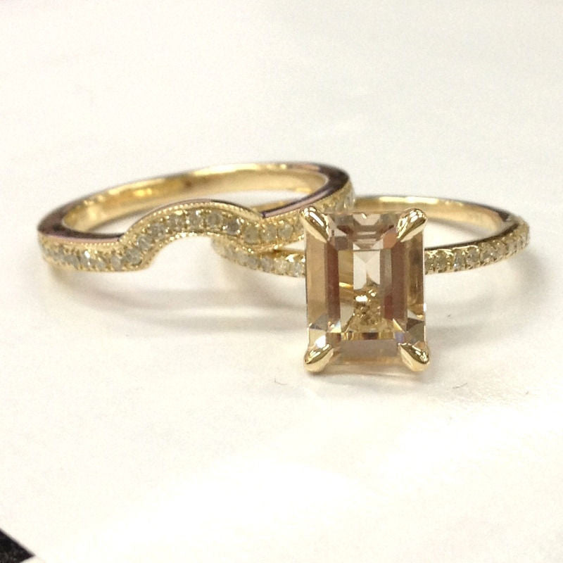 Emerald Cut Morganite Engagement Ring Sets Pave Diamond Wedding 14K Yellow Gold 6x8mm - Lord of Gem Rings - 1