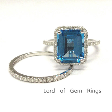 Emerald Cut Blue Topaz Engagment Ring Sets Pave Diamond Wedding 14K White Gold 8x10mm - Lord of Gem Rings - 1