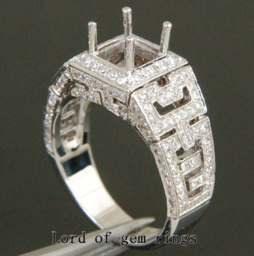 Diamond Engagement Semi Mount Ring 14K White Gold Setting Princess 5.25mm - Lord of Gem Rings - 1