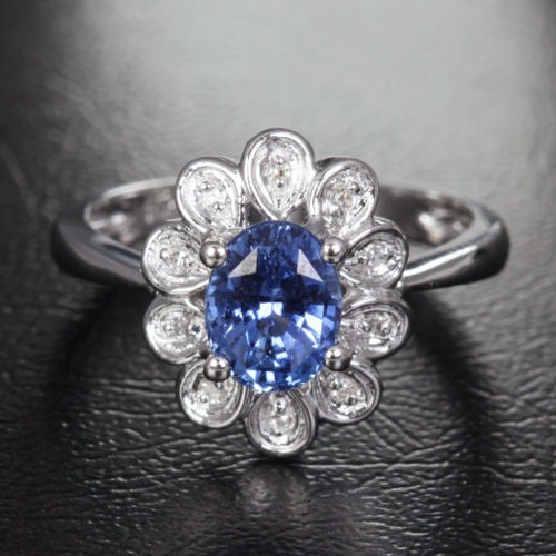 Oval Sapphire Engagement Ring Diamond Wedding 14K White Gold 4x6mm Flower - Lord of Gem Rings - 1