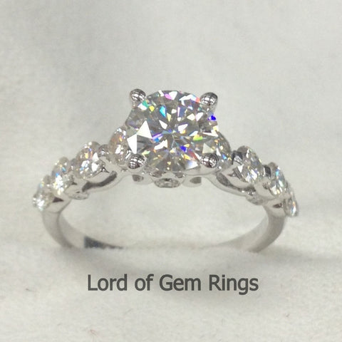 Round Moissanite Engagement Ring 14K White Gold 6.5mm & 3mm - Lord of Gem Rings - 1