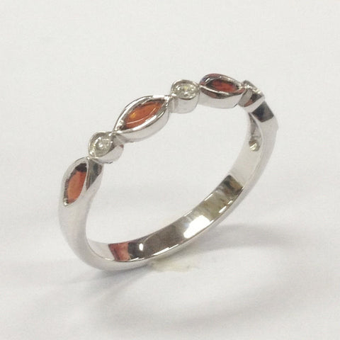 Garnet Diamond Wedding Band Half Enternity Anniversary Ring 14K White Gold - Lord of Gem Rings - 1