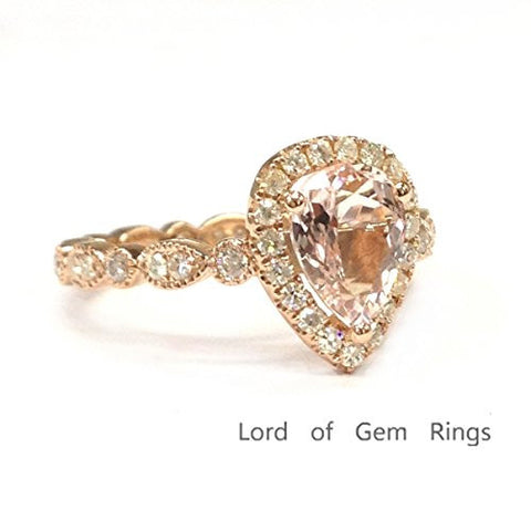 Pear Morganite Engagement Ring Pave Moissanite Wedding 14K Rose Gold,6x8mm,Art Deco Style,Eternity - Lord of Gem Rings - 1