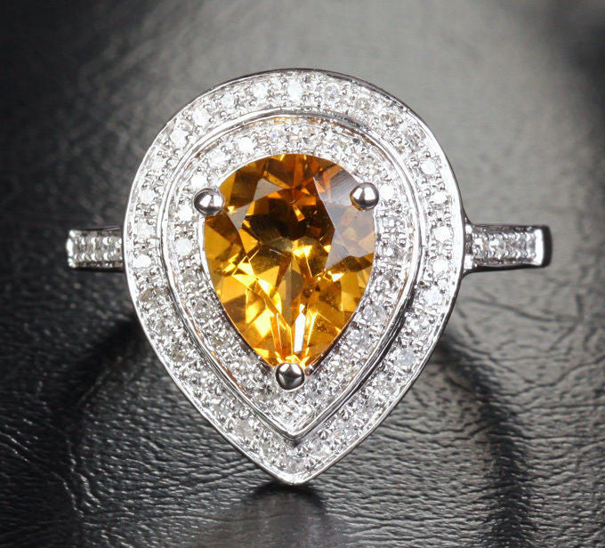 Pear Citrine Engagement Ring Pave Diamond Wedding 14K White Gold 7x9mm Double Halo - Lord of Gem Rings - 1