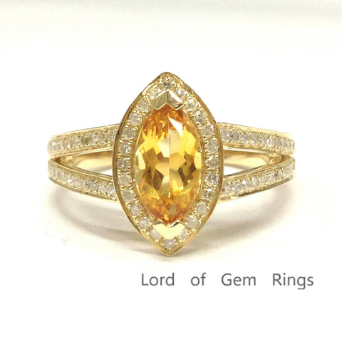 Marquise Citrine Engagement Ring Pave Diamond Wedding 14K Yellow Gold 5x10mm,Split Shank - Lord of Gem Rings - 1