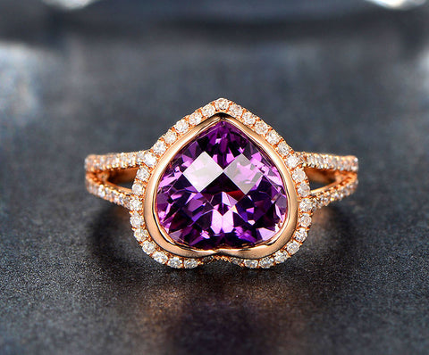 Heart Shape Amethyst Engagement Ring Pave Diamond Wedding 14K Rose Gold 10mm Bezel - Lord of Gem Rings - 1