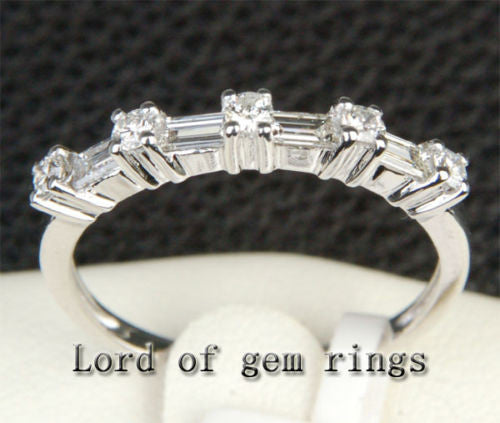 Baguette/Round VS/H Diamond Wedding Band Anniversary Ring 14K White Gold - Lord of Gem Rings - 1