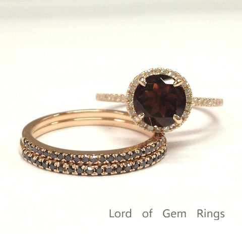 Round Garnet Engagement Ring Sets Pave Black Diamond Wedding Bands 14K Rose Gold 7mm - Lord of Gem Rings - 1