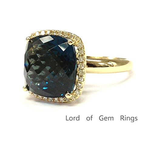 Cushion London Blue Topaz Engagement Ring Pave Diamond Wedding 14K Yellow Gold,13mm - Lord of Gem Rings - 1