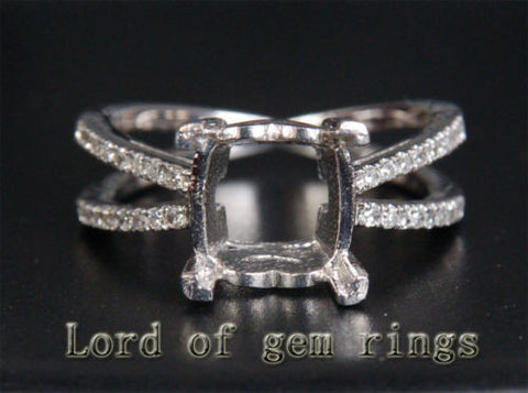 Diamond Engagement Semi Mount Ring 14K White Gold Setting Cushion 9mm - Lord of Gem Rings - 1