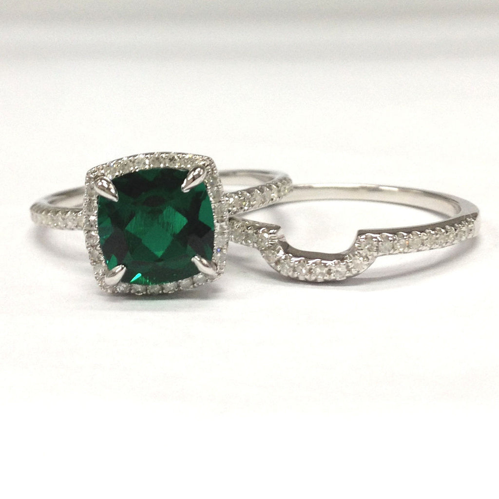 $758 Cushion Emerald Engagement Ring Sets Pave Diamond Wedding 14K White Gold