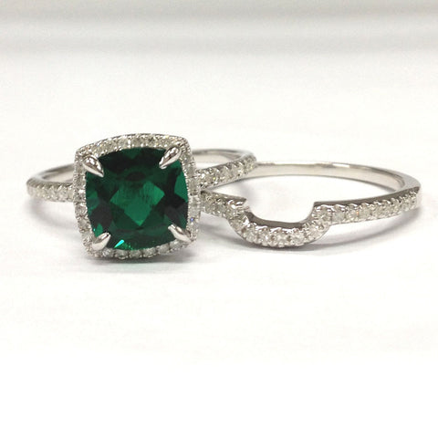 Cushion Emerald Engagement Ring Sets Pave Diamond Wedding 14K White Gold 8mm - Lord of Gem Rings - 1