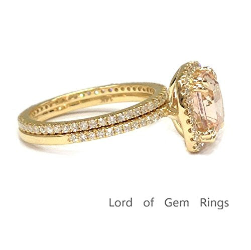 Cushion Morganite Engagement Ring Sets Pave Diamond Wedding 14K Yellow Gold,8mm,Eternity Band - Lord of Gem Rings - 1