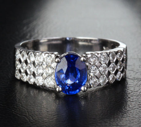 Oval Blue Sapphire Engagement Ring Diamond Wedding 14K White Gold 1.65CT - Lord of Gem Rings - 1