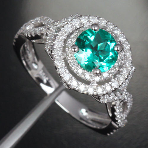 Round Emerald Engagement Ring Pave Diamond Wedding 14k White Gold 6.6mm Double Halo - Lord of Gem Rings - 1