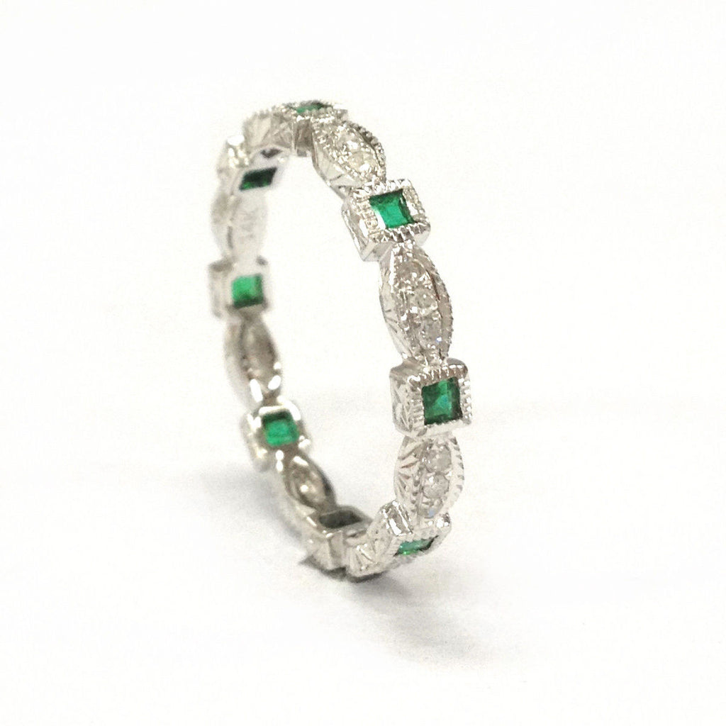 Princess Emerald Diamond  Wedding Band Eternity Anniversary Ring 14K White Gold,Art Deco Design - Lord of Gem Rings - 1