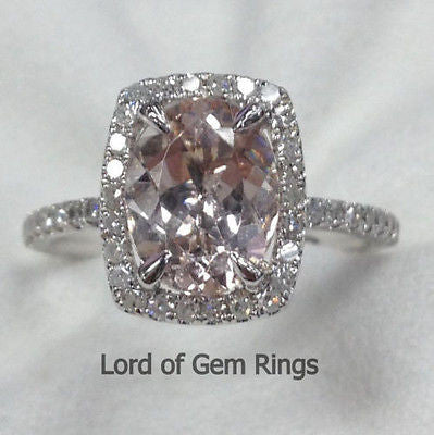 Oval Morganite Engagement Ring Pave Diamond Wedding 14K White Gold 7x9mm  Cushion Halo - Lord of Gem Rings - 1
