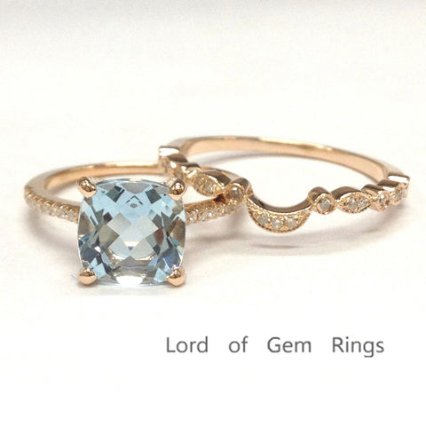 Cushion Aquamarine Engagement Ring Sets Pave Diamond Wedding 14K Rose Gold 8mm  Art Deco - Lord of Gem Rings - 1