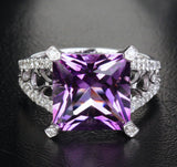 Princess Amethyst Engagement Ring Pave Diamond Wedding 14K White Gold 10.5mm - Lord of Gem Rings - 1