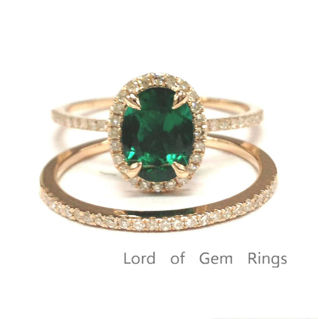 Oval Emerald Engagement Ring Sets Pave Diamond Wedding 14k Rose Gold 6x8mm - Lord of Gem Rings - 1