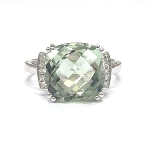 Cushion Green Amethyst Engagement Ring Pave Diamond Wedding 14K White Gold,11mm - Lord of Gem Rings - 1