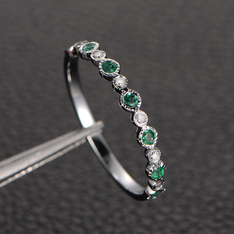 Natural Emerald Diamond Wedding Band Half Eternity Anniversary Ring 14K White Gold - Lord of Gem Rings - 1