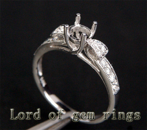 Diamond Engagement Semi Mount Ring 14K White Gold Round 5mm - Lord of Gem Rings - 1