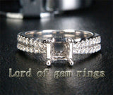 Diamond Engagement Semi Mount Ring 14K White Gold Setting Princess 6mm - Lord of Gem Rings - 1