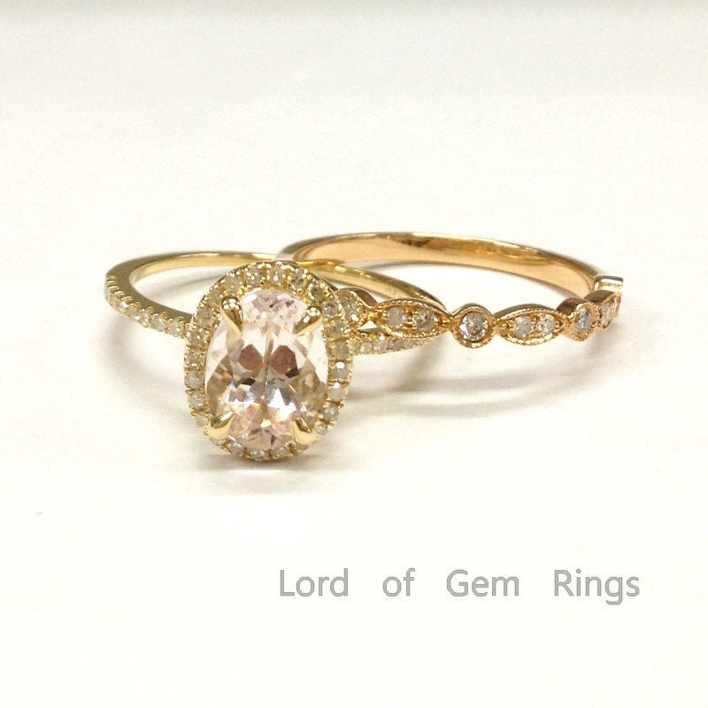 Oval Morganite Engagement Ring Sets Diamond Wedding Band 14K Two-tone Gold 6x8mm - Lord of Gem Rings - 1