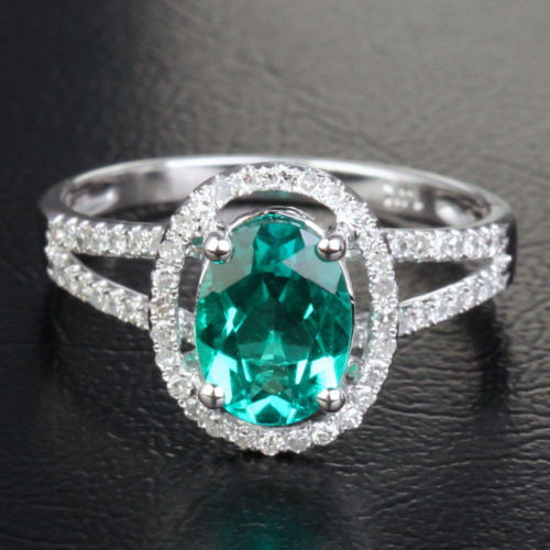 Oval Emerald Engagement Ring Pave Diamond Wedding 14k White Gold 7x9mm Split Shank - Lord of Gem Rings - 1