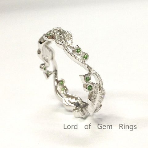 Diamonds Tsavorites Wedding Band Eternity Anniversary Ring 14K White Gold - Lord of Gem Rings - 1