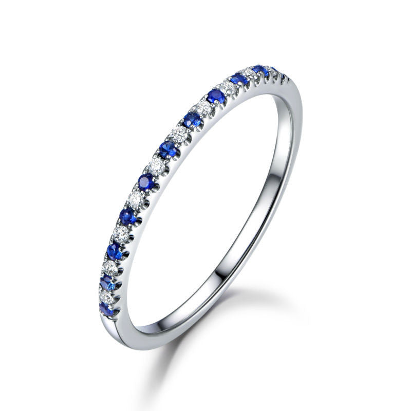 Pave Sapphire/Diamond Wedding Band Half Eternity Anniversary Ring 18K White Gold - Lord of Gem Rings - 1