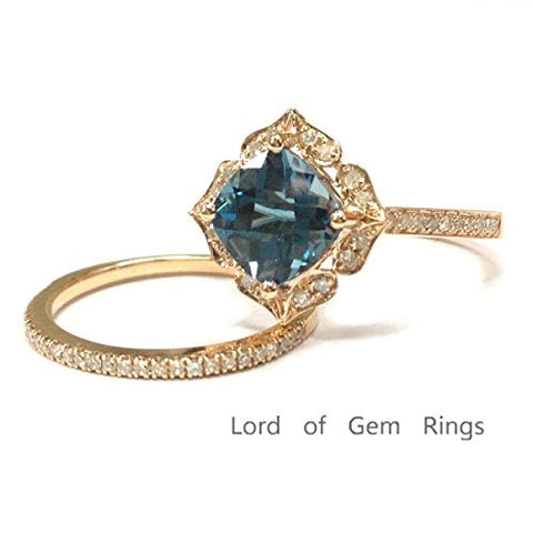 Cushion London Blue Topaz Engagement Ring Sets Pave Diamond Wedding 14K Rose Gold,8mm,Floral Unique - Lord of Gem Rings - 1