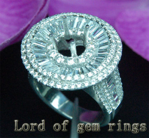 VS/G Diamond Engagement Semi Mount Ring 14K White Gold Setting Round 6.5mm 5.29CT HEAVY 12.28g - Lord of Gem Rings - 1