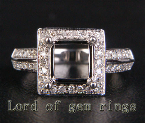 Diamond Engagement Semi Mount Ring 14K White Gold Setting Asscher 6mm - Lord of Gem Rings - 1