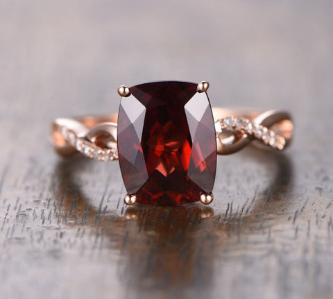 Cushion Garnet Engagement Ring Pave Diamond Wedding 14K Rose Gold 8x10mm - Lord of Gem Rings - 1