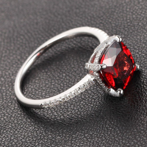 Cushion Garnet Engagement Ring Pave Diamond Wedding 14K White Gold 8x8mm - Lord of Gem Rings - 1