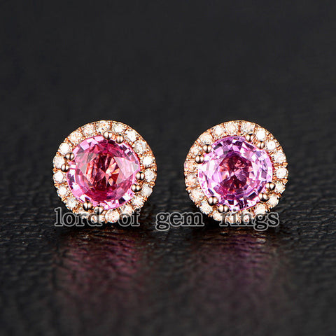 Round Pink Sapphires Earrings Diamond Halo 14K Rose Gold 4.5mm Stud - Lord of Gem Rings - 1