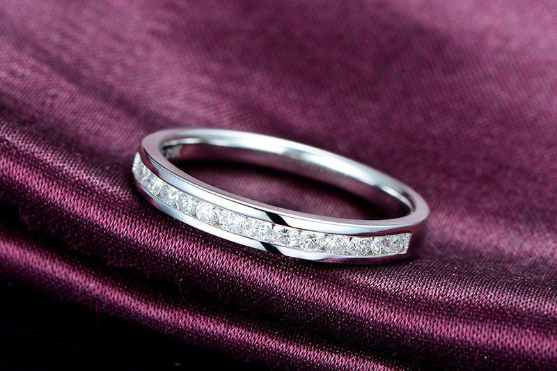 Diamond Wedding Band Half Eternity Anniversary Ring 18K White Gold- VS/H Channel Set - Lord of Gem Rings - 1