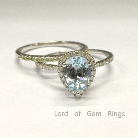 Pear Aquamarine Diamond  Engagement Ring Sets Pave Peridot Wedding Band 14K White Gold 6x8mm - Lord of Gem Rings - 1