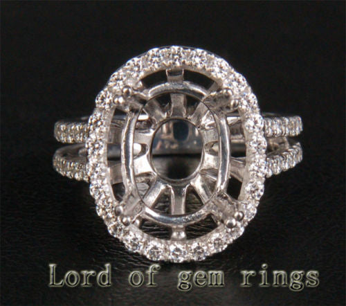 HEAVY! 11x13mm Oval Cut 14K White Gold 1.05ct Diamond Engagement Semi Mount Ring - Lord of Gem Rings - 1