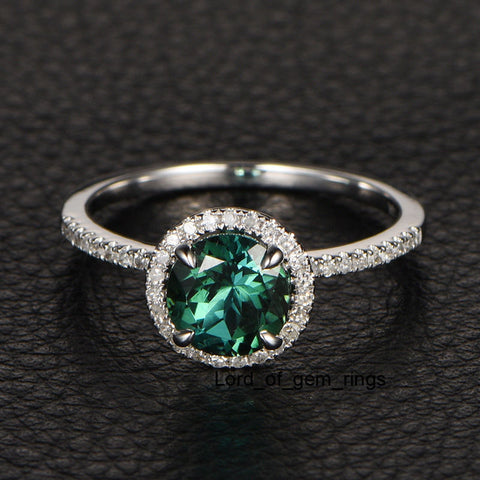 round ring engagement green tourmaline rings vintage antique solitaire style