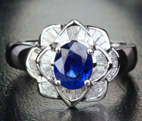 Sapphire Engagement Ring Baguette Diamond Wedding 14k White Gold 1.45ct  Flower - Lord of Gem Rings - 1
