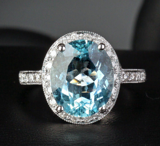Oval Aquamarine Engagement Ring Pave Diamond Wedding 14K White Gold,10x12mm - Lord of Gem Rings - 1