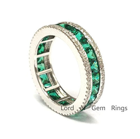 Princess Emerald Wedding Band Pave Diamond Eternity Anniversary Ring 14K White Gold - Lord of Gem Rings - 1