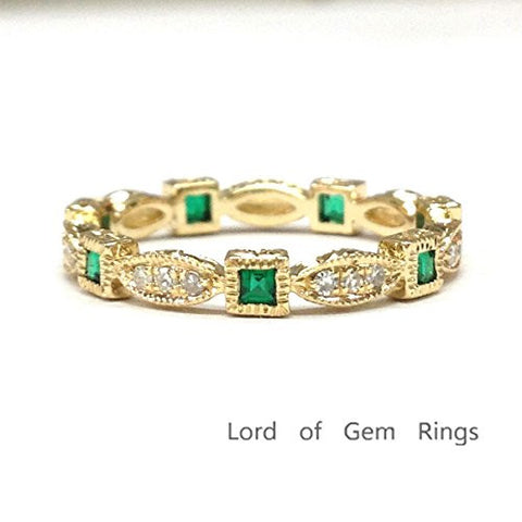 Princess Emerald Diamond  Wedding Band Eternity Anniversary Ring 14K Yellow Gold,Art Deco Design - Lord of Gem Rings - 1