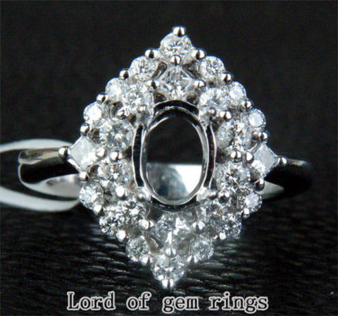 HEAVY 5x7mm Oval Cut .81ct Diamonds Solid 14K White Gold Wedding Semi Mount Ring - Lord of Gem Rings - 1