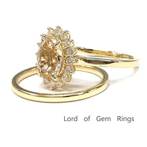 Oval Morganite Engagement Ring Sets Moissanite Wedding 14K Yellow Gold,6x8mm,Floral Unique - Lord of Gem Rings - 1