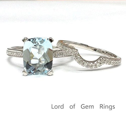 Cushion Aquamarine Engagement Ring Sets Pave Diamond Wedding 14K White Gold, Curved Band,7x9mm - Lord of Gem Rings - 1