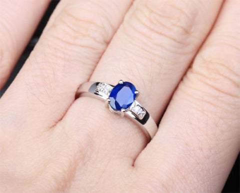Oval Blue Sapphire and Diamond Engagement Ring 10k White Gold 0.86ctw - Lord of Gem Rings - 1